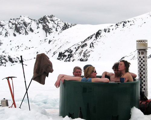 Tub on top of Mt Alt, full of climers!